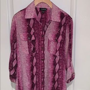 Bebe pink and white silk snakeskin blouse XS